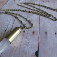 CRYSTALS FOREVER - Crystal quartz point in Bullet Casing Long Necklace  Natural Brass chain  Birthday gift Gift for her Christmas gift Edgy