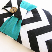 Chevron Kindle Sleeve, Kindle fire sleeve cover, nook cover, Google nexus 7 case-Turquoise Bow.