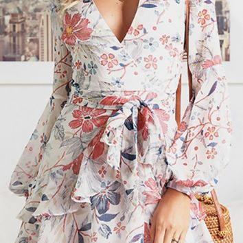 Like A Daydream Floral Pattern Long Lantern Sleeve Cross Wrap V Neck Tiered Flare A-line Casual Mini Dress - 3 Colors Available