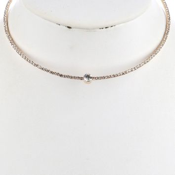 "15"" tennis clear .25"" crystal coil choker collar necklace"