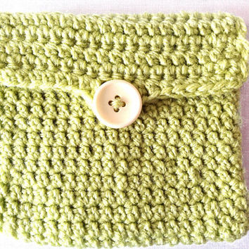 Crocheted lime green pouch money make up jewelry phone anniversary gift custom made
