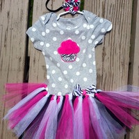 Baby Girl Birthday Outfit - Cupcake Tutu - Second Birthday - Size 24 Months - Birthday Baby