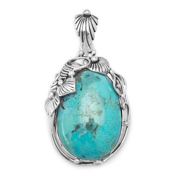 Sterling Silver Oval Turquoise Floral Pendant