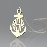 Anchor monogram necklace--1.25 inch hope anchor monogram plated in gold necklace jewelry