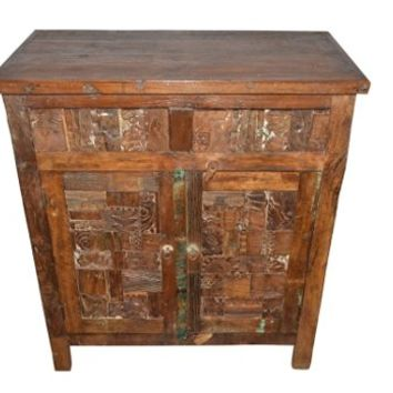 Antique INK BLOCKS Nightstand Endtable Sideboard Console Buffet Hand Carved Storage Chest