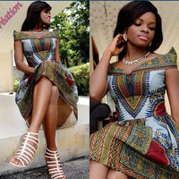 Dashiki Midi Dress African Classy Midi Dress - African Midi Dress - Ankara Midi Dress - African Work Dress