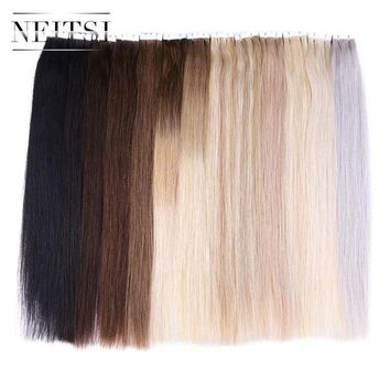 ONETOW Neitsi Straight Brazilian Skin Weft Hair Mini Tape In None Remy Human Hair Adhesive Extensions 20' 2.0g/s 20pcs/pack 13 Colors