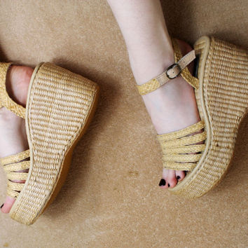 90s Clueless Baby Spice Wicker Basket Weave Chunky Strappy Platfrom Sandals UK 5 / US 7.5 / EU 38