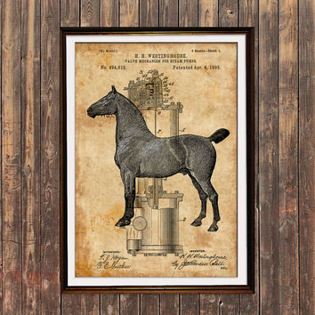 Patent poster Horse print Steampunk print Animal decor SOL132