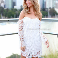 OFF THE SHOULDER LACE DRESS , DRESSES, TOPS, BOTTOMS, JACKETS & JUMPERS, ACCESSORIES, 50% OFF SALE, PRE ORDER, NEW ARRIVALS, PLAYSUIT, GIFT VOUCHER,,White Australia, Queensland, Brisbane