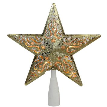 "8.5"" Gold Glitter Star Cut-Out Design Christmas Tree Topper Clear Lights"