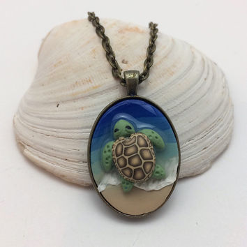 Sea Turtle Beach Pendant Necklace, Polymer Clay Summer Jewelry