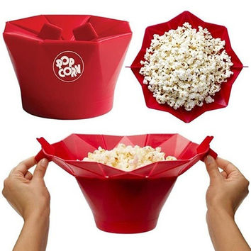 Practical Foldable Silicone Popcorn Maker Popper bowl Safety Healthy Snack Home Kitchen Baking DIY Tools