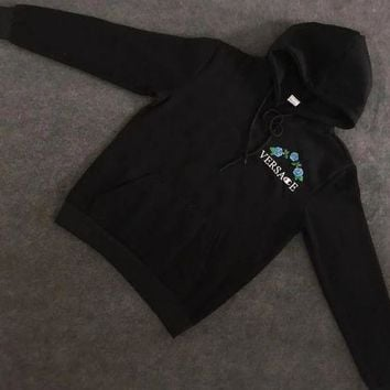 LMFON Versace : Champion Flower Rose Embroidered Sweater Hoodie Pullover