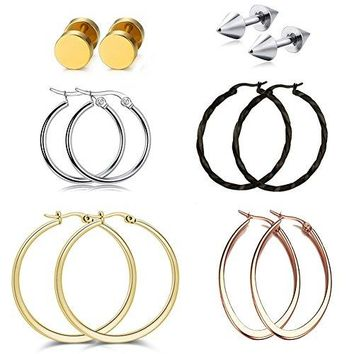 18k Rose Gold Hoop Earrings Round Ball Cross Stainless Steel Clip On Earrings for Womens Cuff Ears Sets