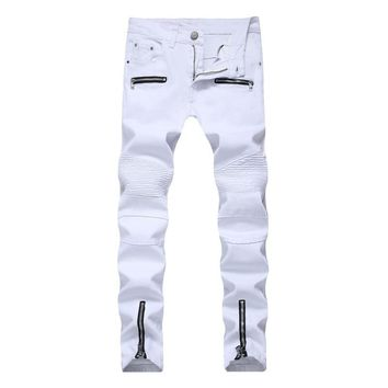 2019 men's high street locomotive zip pocket casual jeans waist straight lined high elastic black white trousers