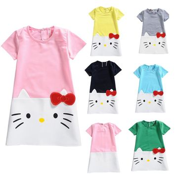 Baby Hello Kitty  Girl Dress Clothing Baby Girls Clothing birthday Hello Kitty Party Princess Dress Kitty Children Clothing