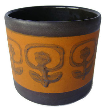 Retro ceramic planter brown and orange, West German Pottery