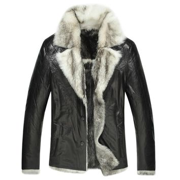 Mens Shearling Real Fur Lined Leather Coat