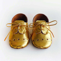 Baby Girl or Boy Shoes Gold leather Soft Sole Shoes
