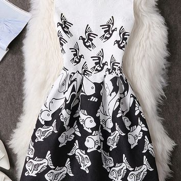 Streetstyle  Casual Round Neck Designed Fish Bird Printed Skater Dress