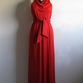Vintage 1970s Red Maxi Dress St Gillian Red Black Jersey Knit Evening Gown by Kay Unger Small
