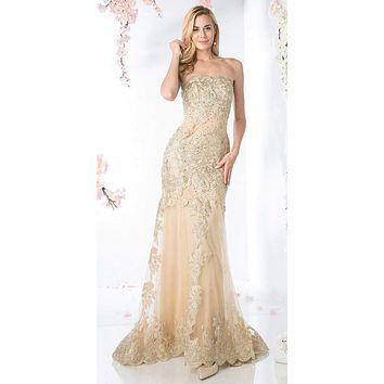 SPECIAL - Gold Formal Strapless Long Evening Dress Golden Applique