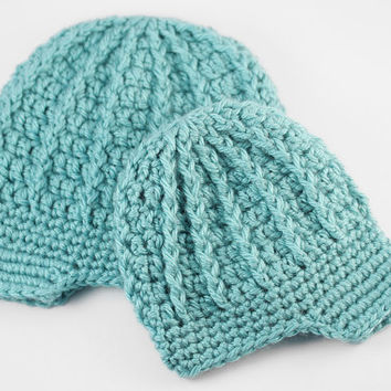 Teal Crochet Newsboy Hat // Aqua, Teal Baby Boy Hat // Preemie to NB Size or 0 to 3 Month Size // Newborn Photo Prop or Gift
