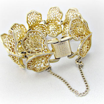 Vintage Gold Leaf Bracelet, Designer CORO PEGASUS, Wide Gold Bracelet, Gold Filigree Bracelet, 1950s 1960s Mad Men High-End Costume Jewelry
