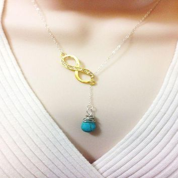 Infinity Lariat Necklace Turquoise Sterling