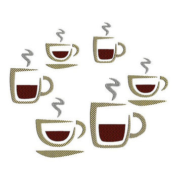 Coffee cups and mugs embroidery designs. Barista embroidery. Coffee or tea cups and mugs. Coffee embroidery. 4x4 hoop machine embroidery.