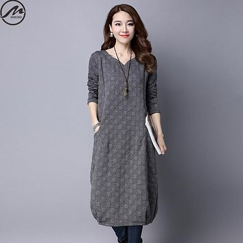MIWIMD Plus Size Women Autumn Winter Dresses 2017 New Fashion Casual Loose Long Sleeve Vintage Jacquard Dots Cotton Linen Dress