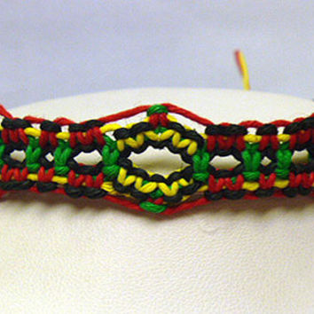 Rasta Hemp Bracelet or Anklet handmade jewelry custom welcome macrame unisex girls womens