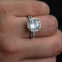 14k White Gold 9mm White Topaz Cushion and Diamonds Engagement Ring and Wedding Band Set (Choose color and size options at checkout)