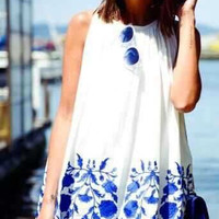 White Print Sundress B008007
