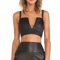 Jennifer Kate Leather Strapless Bralette in Black