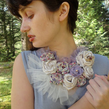 Pink and Purple Flower Bib Necklace