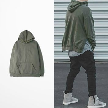 ca qiyif Kanye Down Split Hoodies Over Size