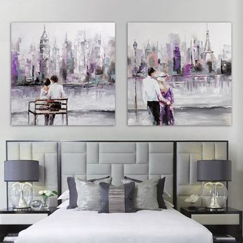 Modern hand-painted oil canvas wall art in New York City building landscape purple love couple living room bedroom home decor