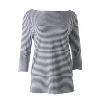 Three Dots Womens Boatneck Striped Pullover Top