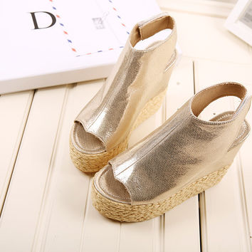 Design Stylish Summer Korean Peep Toe Shoes Wedge High Heel Rubber Waterproof Sandals [6044948737]