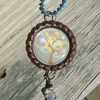 Rainbow Tree Bottle Cap Charm Necklace