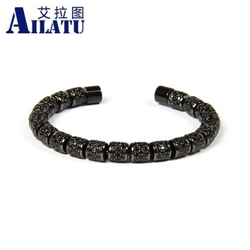 Ailatu Luxury Jewelry Full Black Cz Spacer Beads Stainless Steel Bangles for Men and Women's Gift
