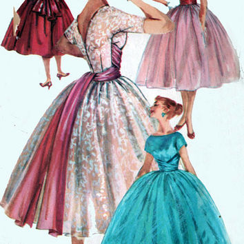 1950s Sewing Pattern Simplicity 1795 ROCKABILLY Cocktail Dress w/ Cummerbund Bateau Neckline and Overskirt Vintage Sewing Pattern Size 12