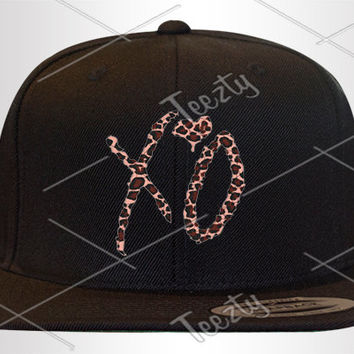 XO The weeknd The weekend Ovoxo Ovo Drake Snapbacks Snapback Cheetah Print Custom Snapbacks Custom Drake Snapbacks Drake Clothing Hats Caps