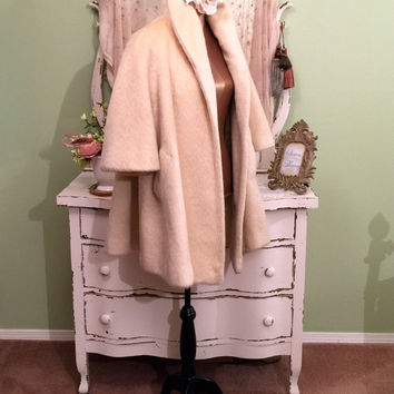 Lilli Ann Mohair Coat, 50s Full Swing Coat w Bracelet Sleeves, Paris Couture, Elegant Cream Winter Coat, Hollywood Glam Vintage Wrap Coat, M