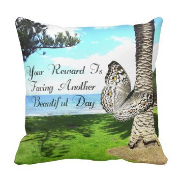Reward Quote by Kat Worth Throw Pillow