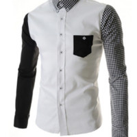 Mens Slim Edgy Plaid Sleeve Dress Shirt