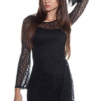 Diosa Whisper Mesh Burnout Swing Dress - Black
