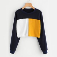 Women Long Sleeve Patchwork Autumn Sweatshirt  Spring Pullover Casual O Neck Sweatshirt
